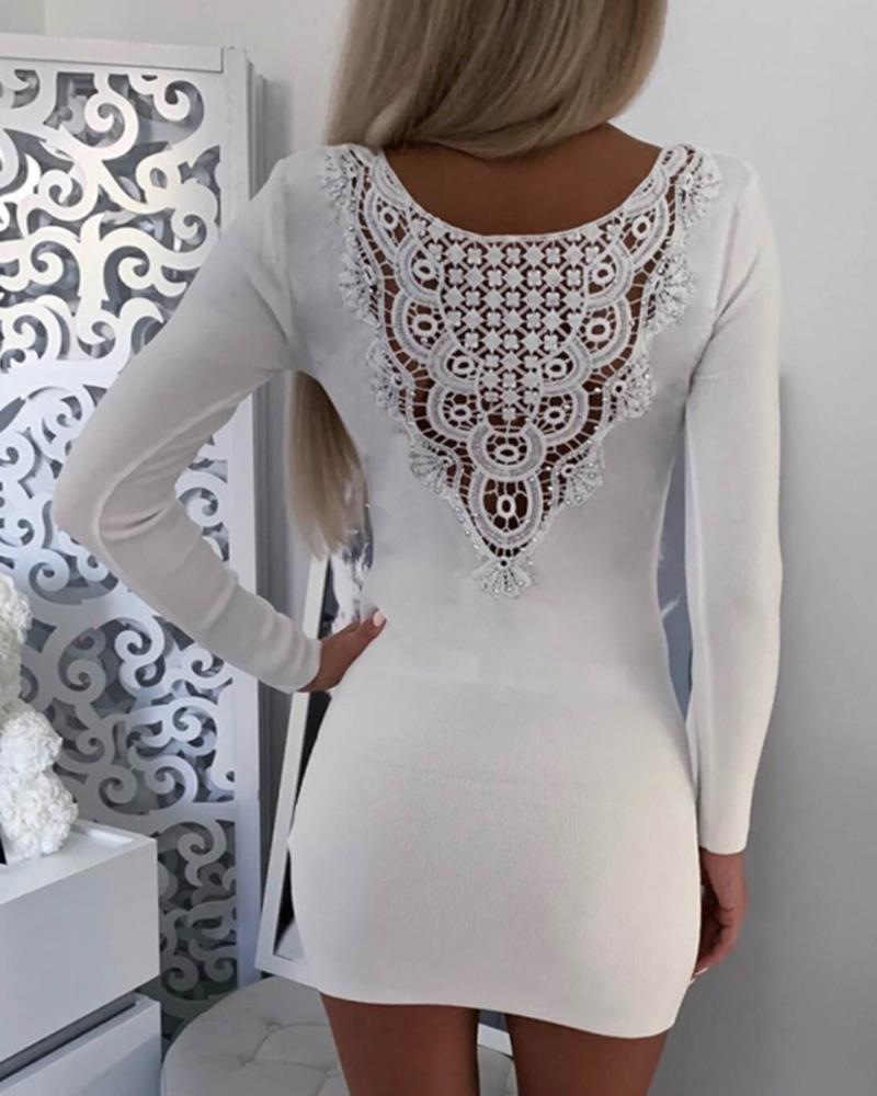 Solid Lace Hollow Out Bodycon Dress фото