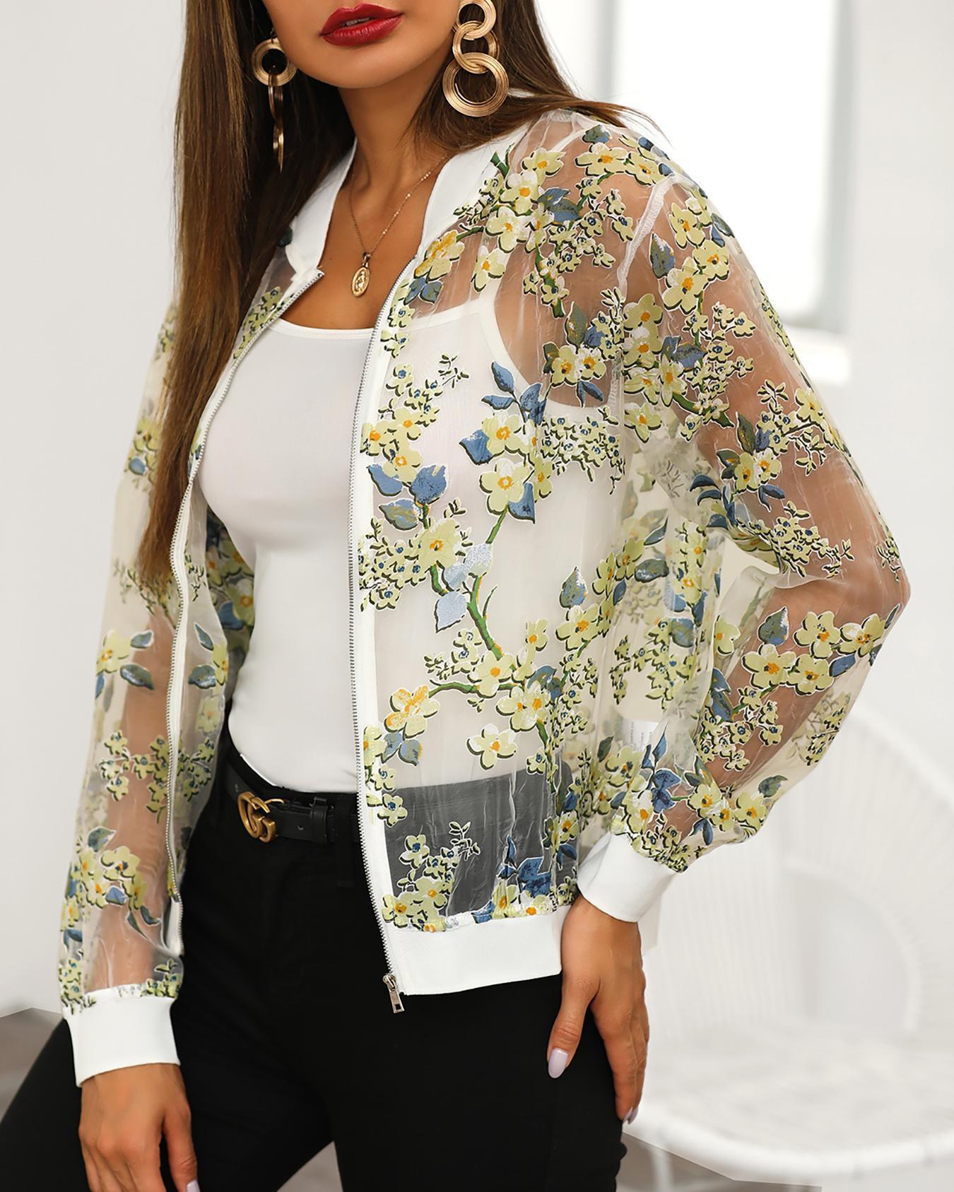 Floral Print Sheer Mesh Zipper Jacket