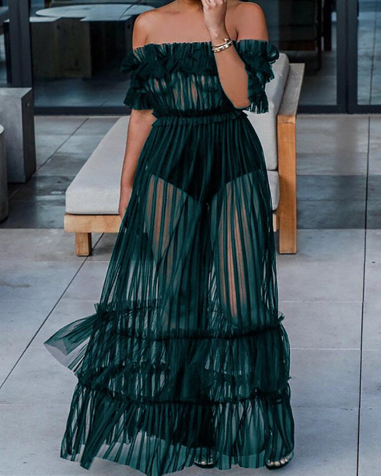 ivrose / Off Shoulder Sheer Mesh Maxi Dress