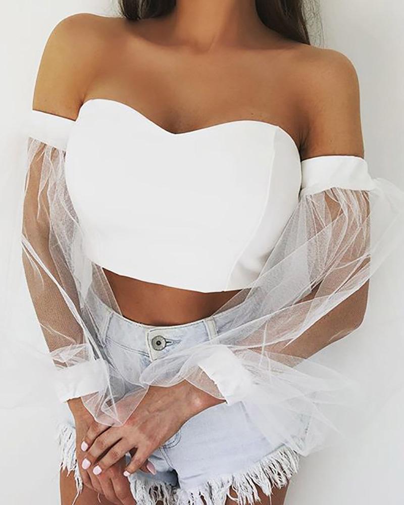 chicme / Blusa con aplicación de manga de malla y cuello de linterna