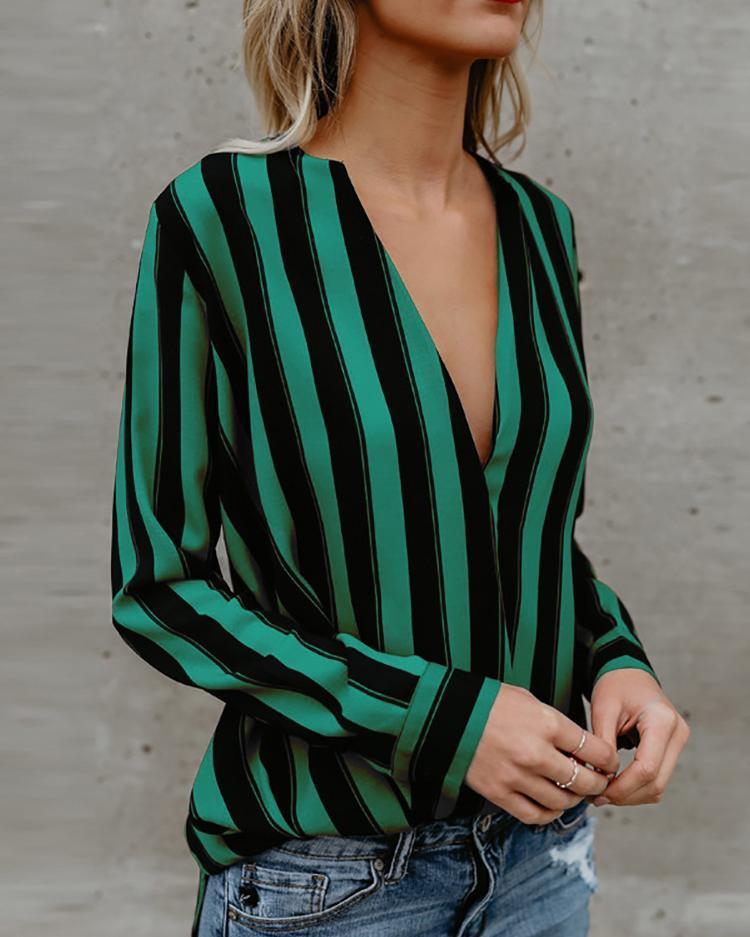 Stripes Deep V Long Sleeve Casual Blouse фото
