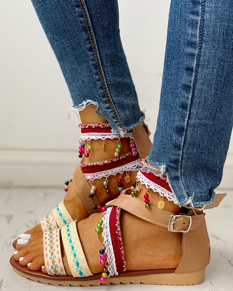Ethnic Style Ankle Buckled Casual Flat Sandals, Brown
