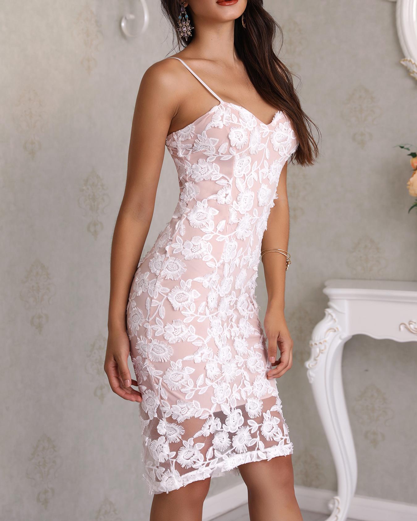 Sweetheart Neck Crochet Lace Slip Dress фото