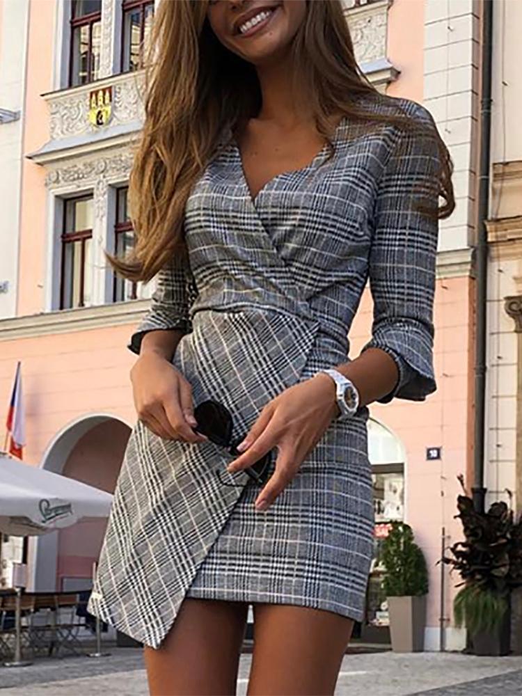 boutiquefeel / V-Neck Wrap Grid Irregular Vestido Casual