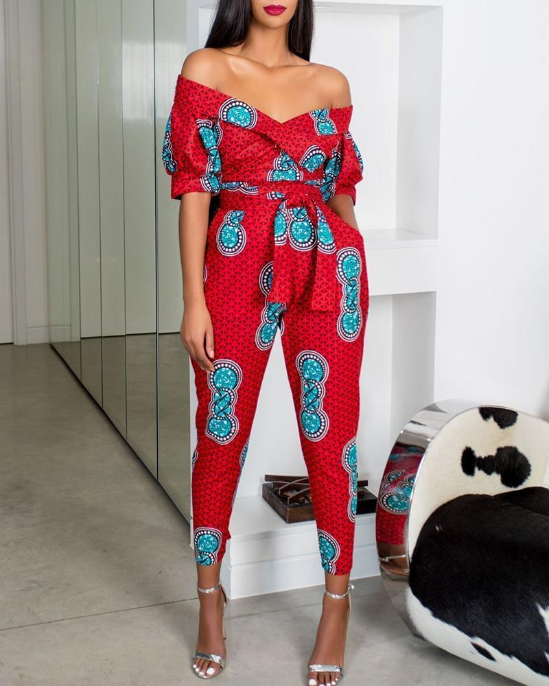 Print Off Shoulder Tight Waist Short Sleeve Jumpsuit фото