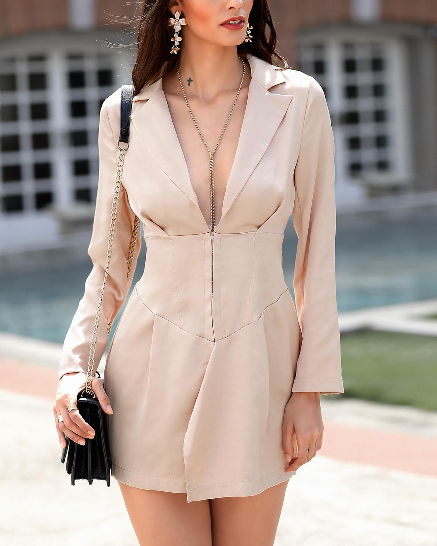 chicme / Abrigo blazer de cintura ajustada sólida