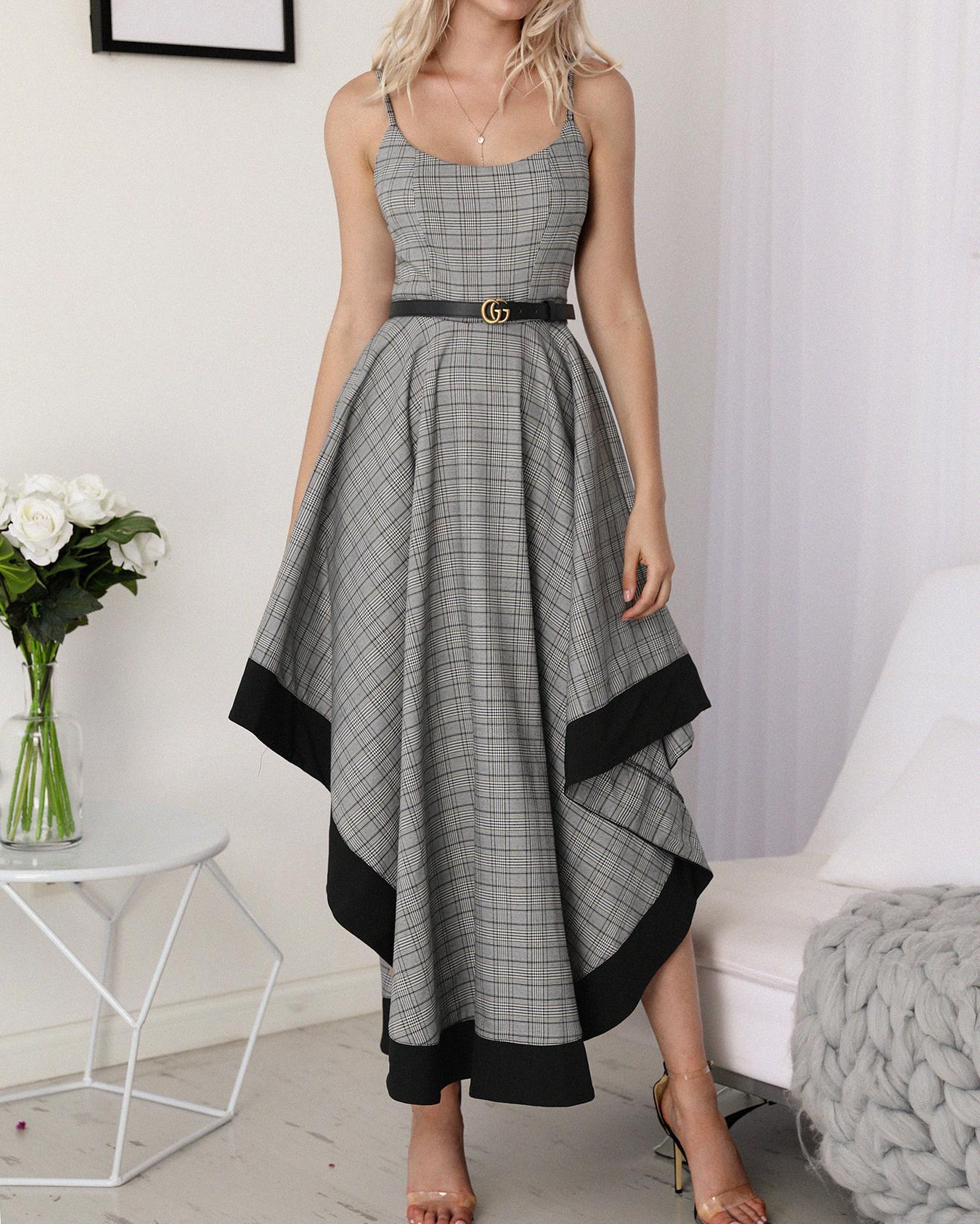 Мода Спагетти Ремень Сетки Нерегулярные Платье
