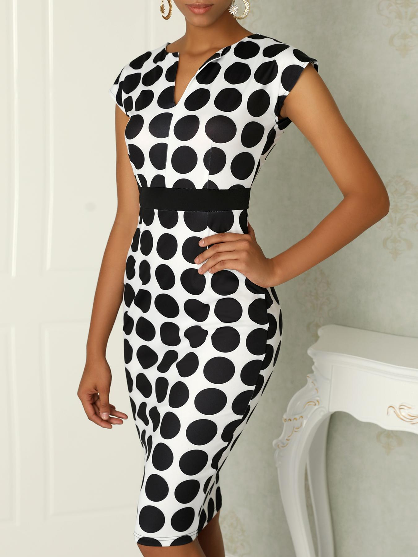 Formal Polka Dot Print V Neck Sheath Dress