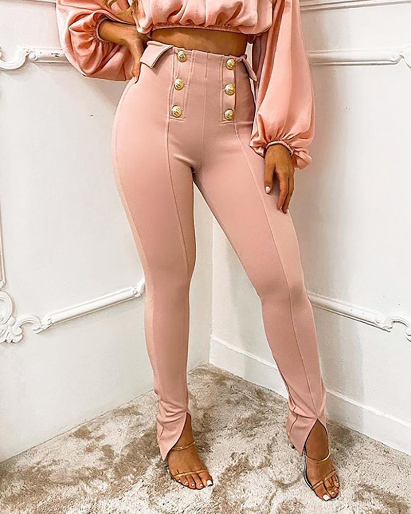 Button Design High Waist Slit Skinny Pants, Pink