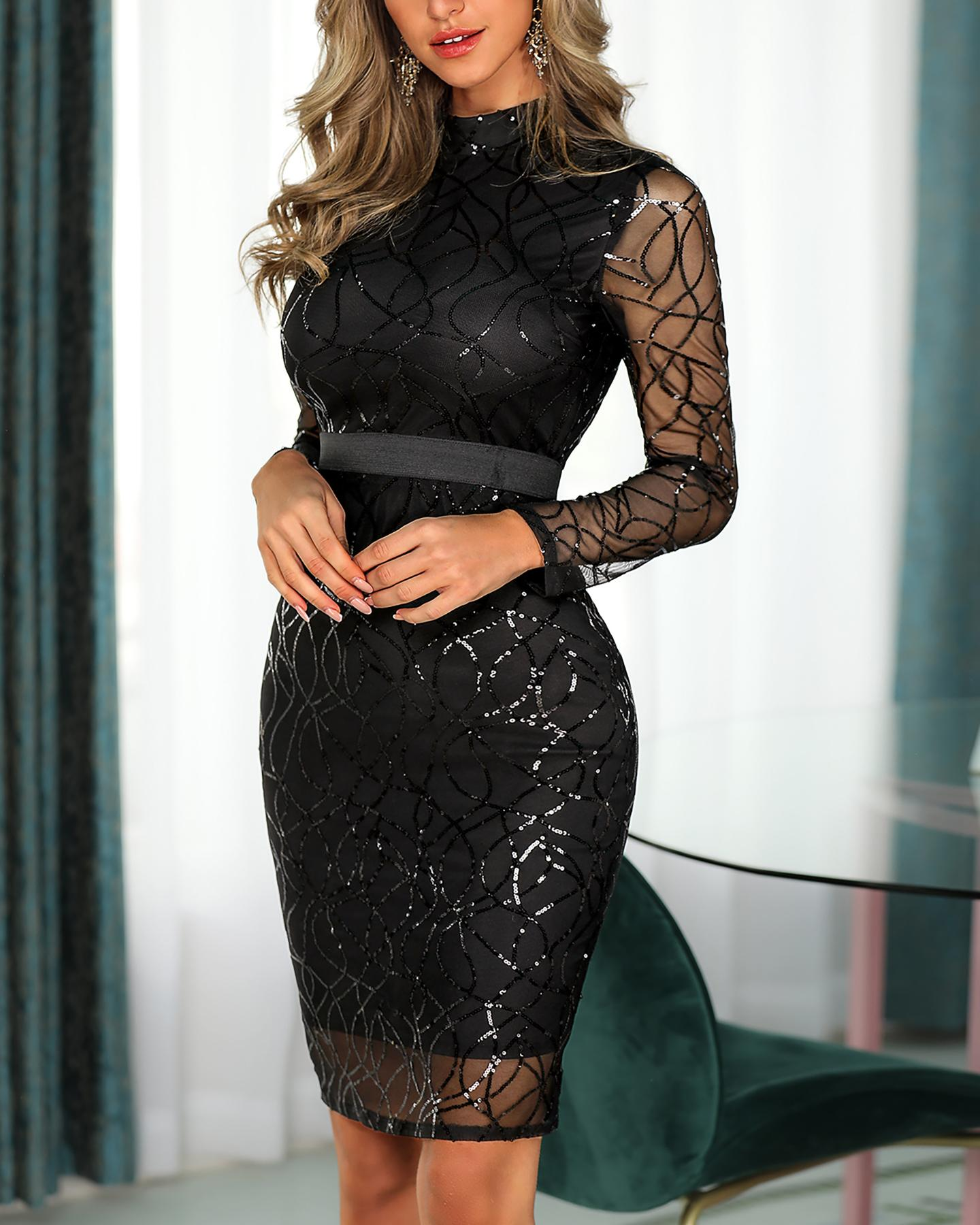 Long Sleeve Sequin Midi Dress фото