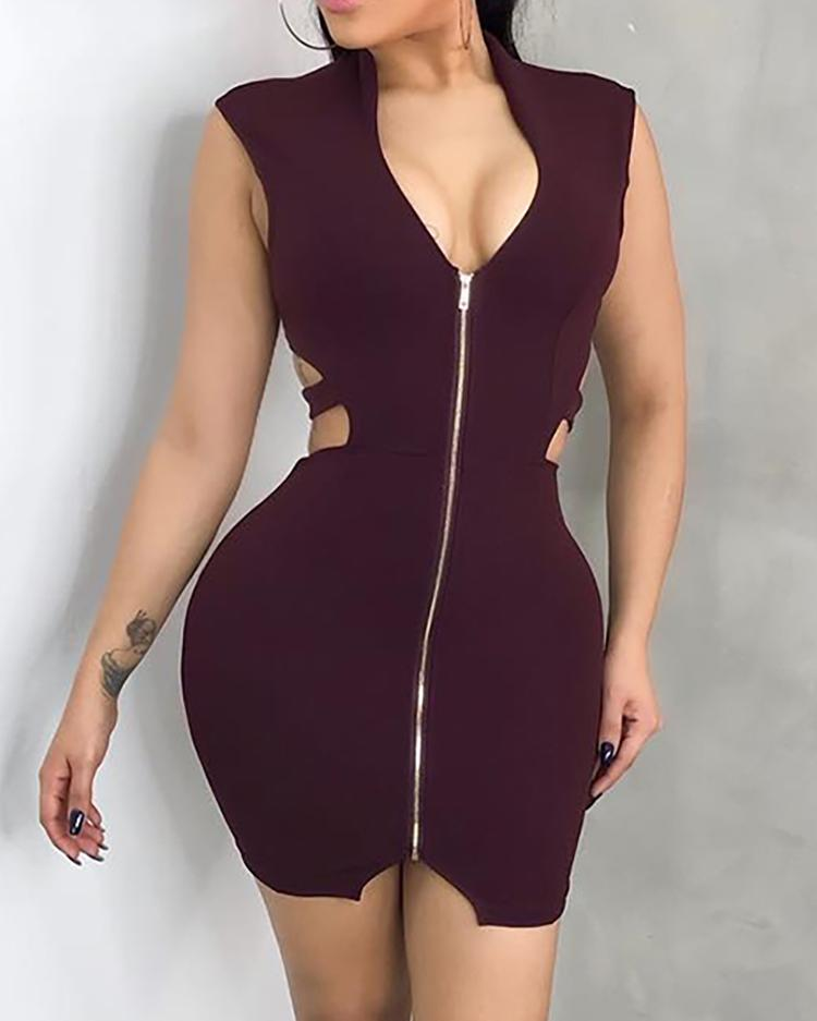 Zip Up Cut Out Bandage Bodycon Dress фото