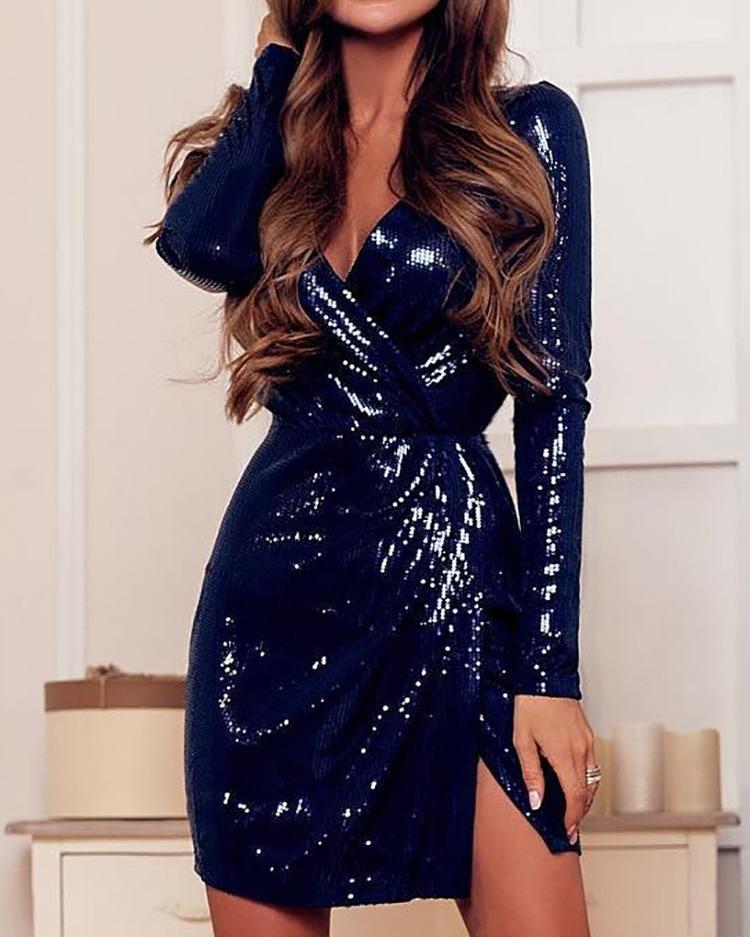 Twist Front Slit Sequin Party Dress фото