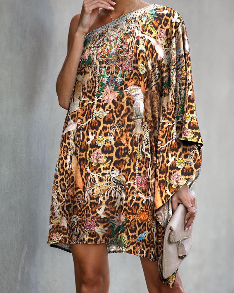 One Shoulder Print Casual Dress фото