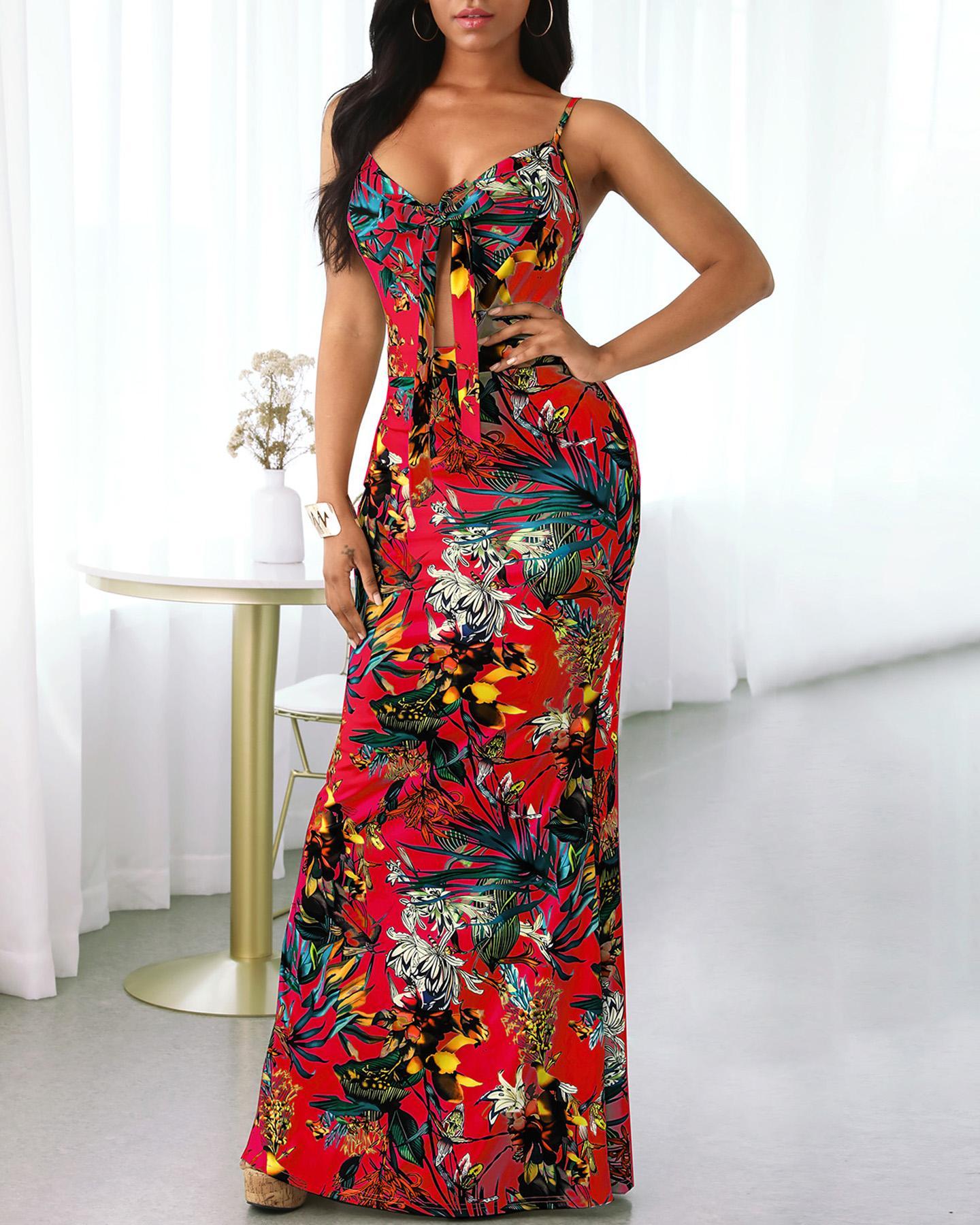 Tropical Print Tie Front Cutout Dress фото