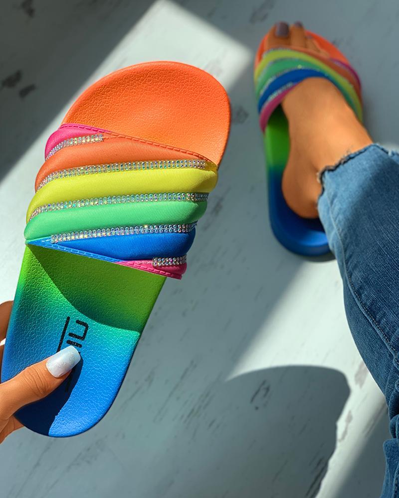 Colorblock Rhinestone Slider Sandals фото