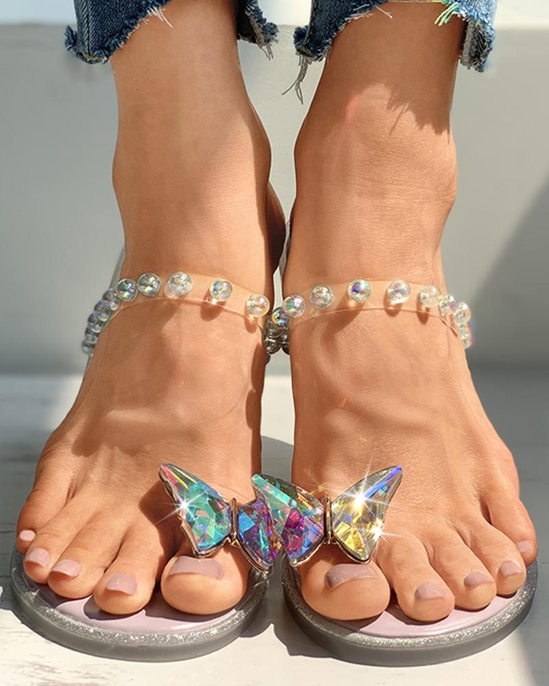 ivrose / Butterfly Pattern Toe Ring Beaded Flat Sandals