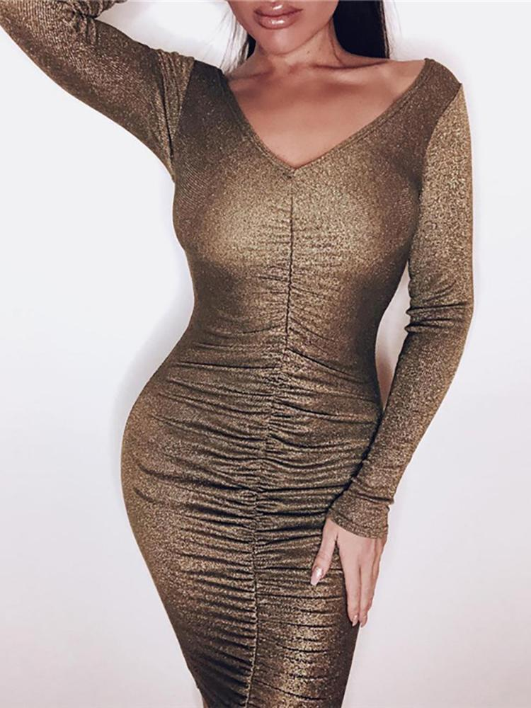 Glitter Scrunched Long Sleeve Party Dress