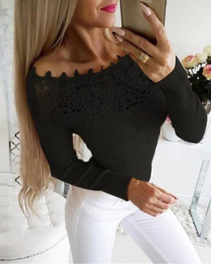 Off Shoulder Lace Trim Top фото
