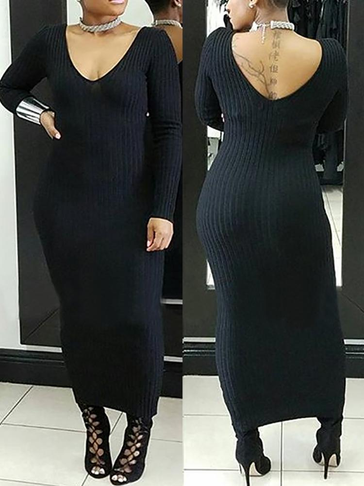 Double V Long Sleeve Ribbed Slinky Maxi Dress