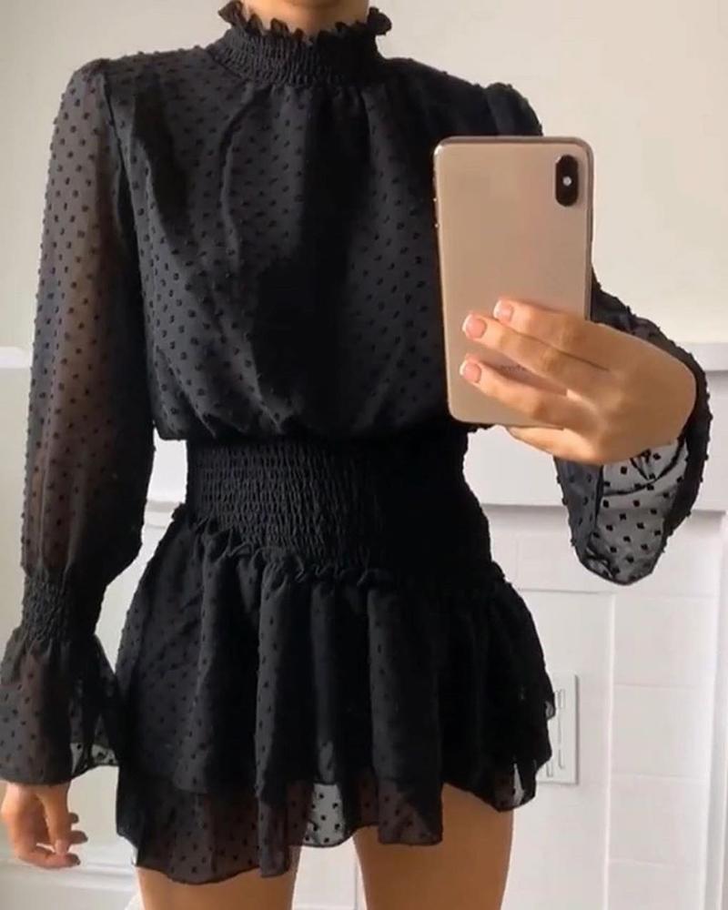 chicme / Dot Mesh Long Sleeve Frill Hem Dress
