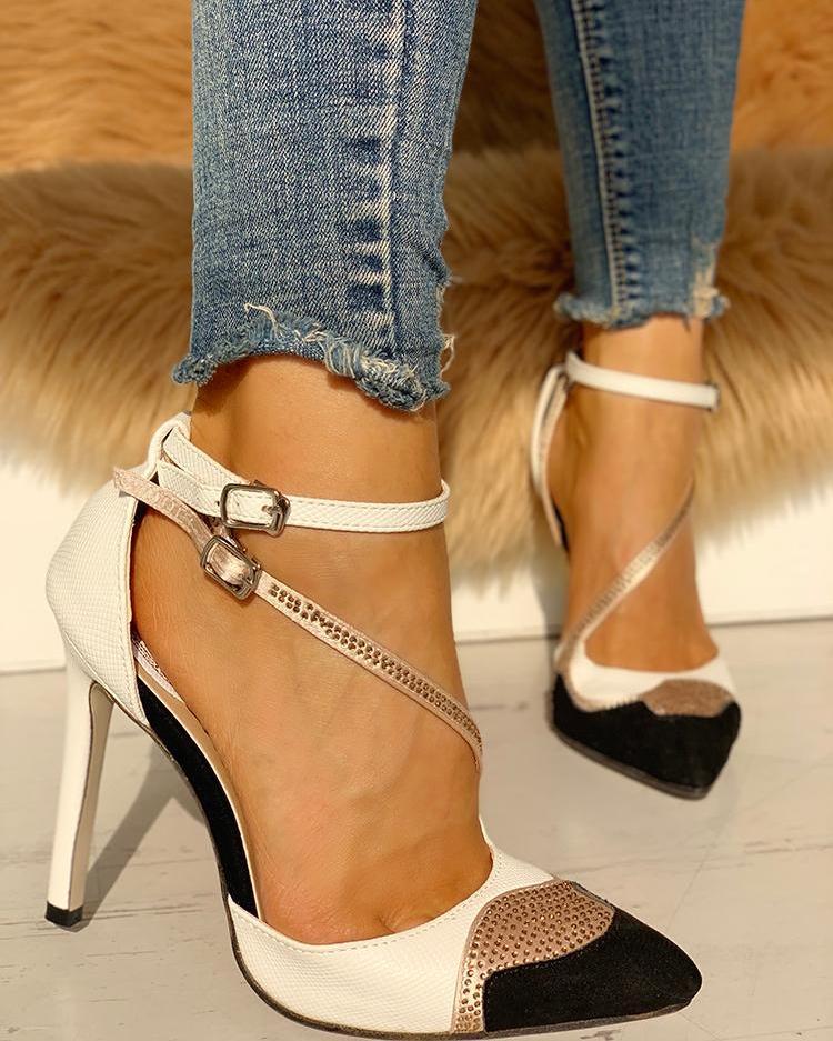 joyshoetique / Pointed Toe Gem-Studded Colorblock Thin Heels