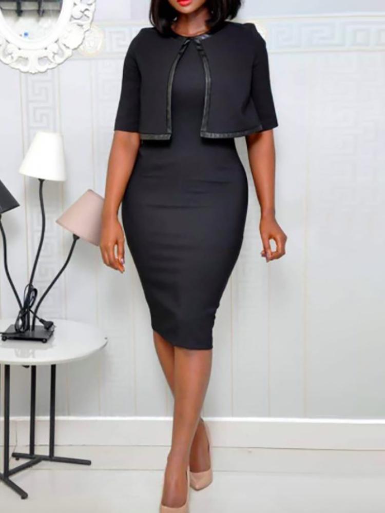 joyshoetique / Fake Two Piece Cape Design Midi Dress