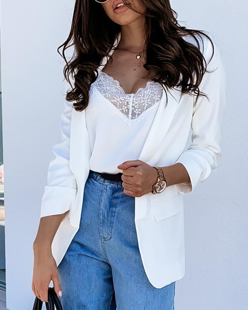 Long Sleeve Pocket Design Blazer Coat фото