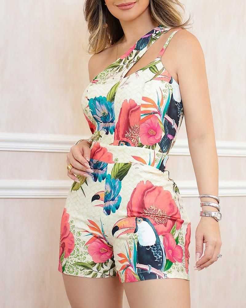 joyshoetique / One Shoulder Floral Print Casual Romper