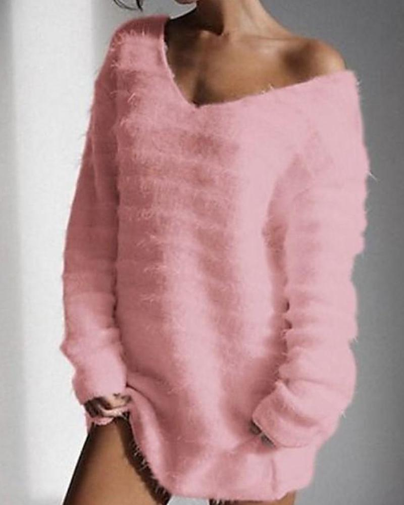 Solid Long Sleeve V Neck Fluffy Sweater фото