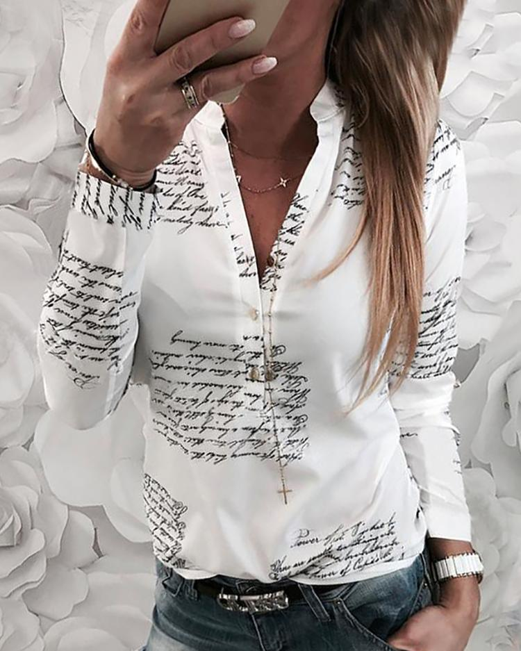 Letter Print Button Design Casual Shirt фото