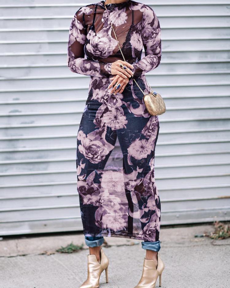 Floral See Through Bodycon Midi Dress фото