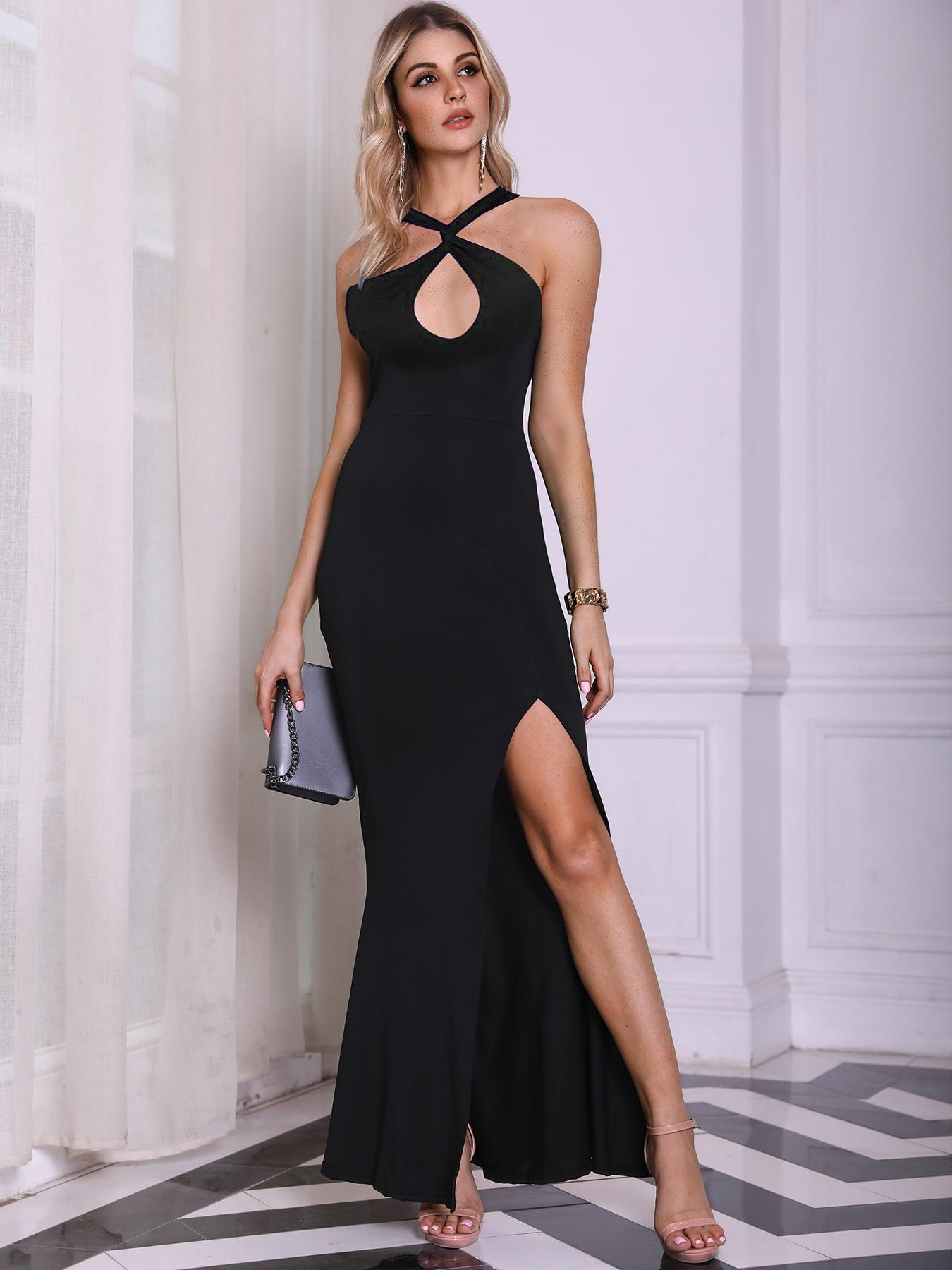 Twist Halter Open Chest Slit Side Evening Dress