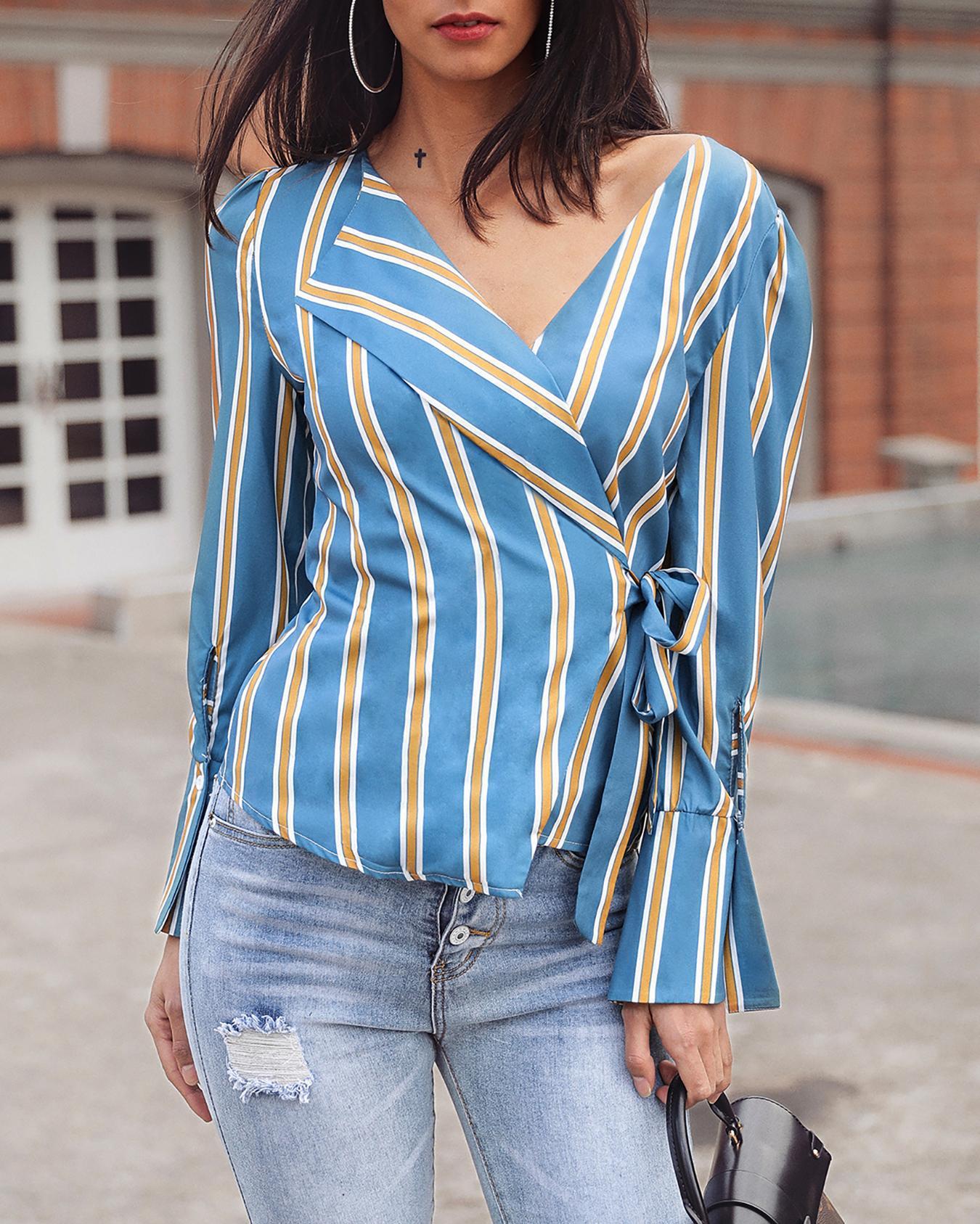 Long Sleeve Tie Side Striped Irregular Blouse фото