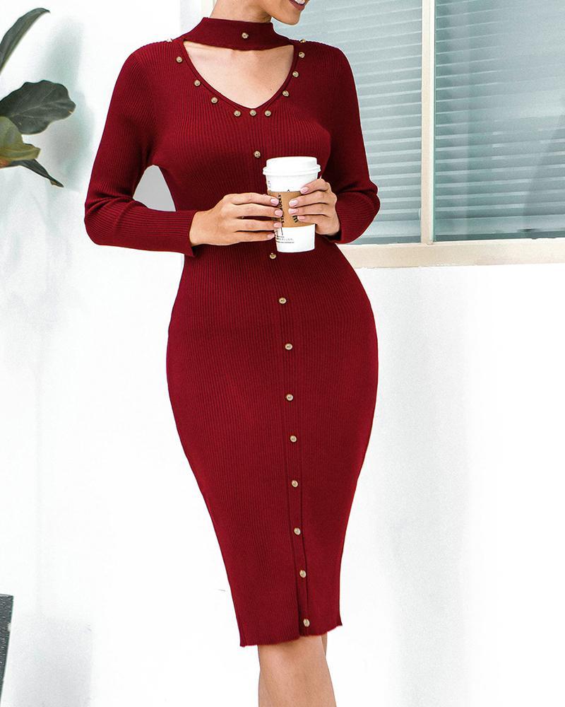 chicme / Round Neck Cut Out Bodycon Midi Dress