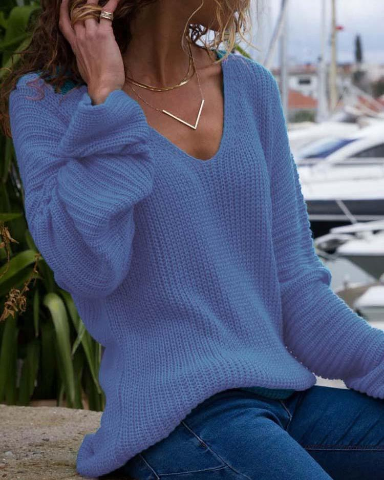 Solid Deep V Long Sleeve Pullover Sweater фото