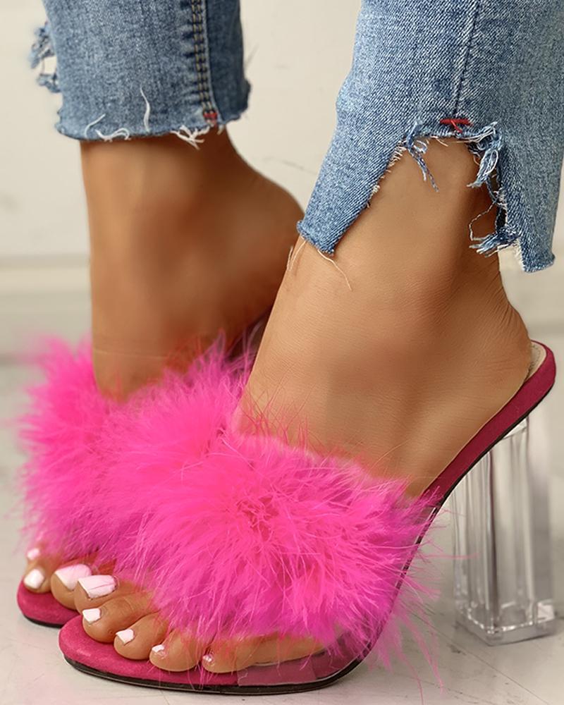 ivrose / Fluffy Open Toe Transparent Chunky Heeled Sandals