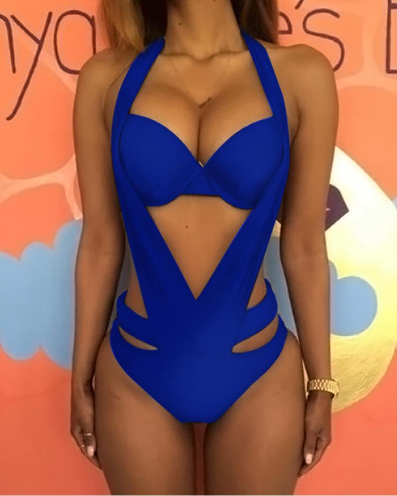 Halter Cutout Backless One Piece Swimsuit фото