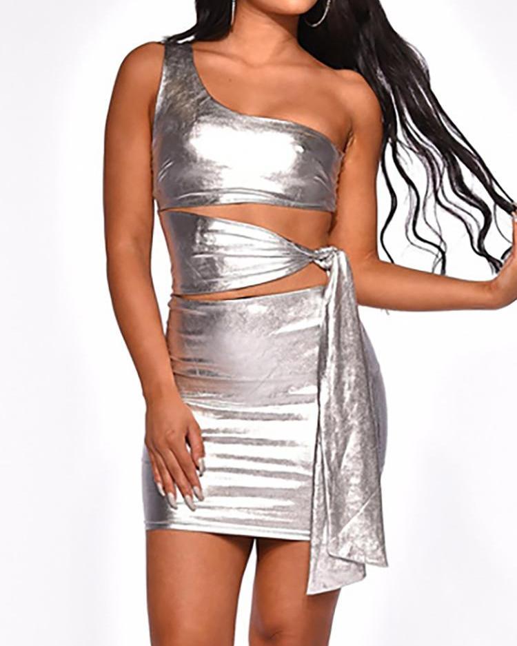 One Shoulder Crop Top & Skirt Sets