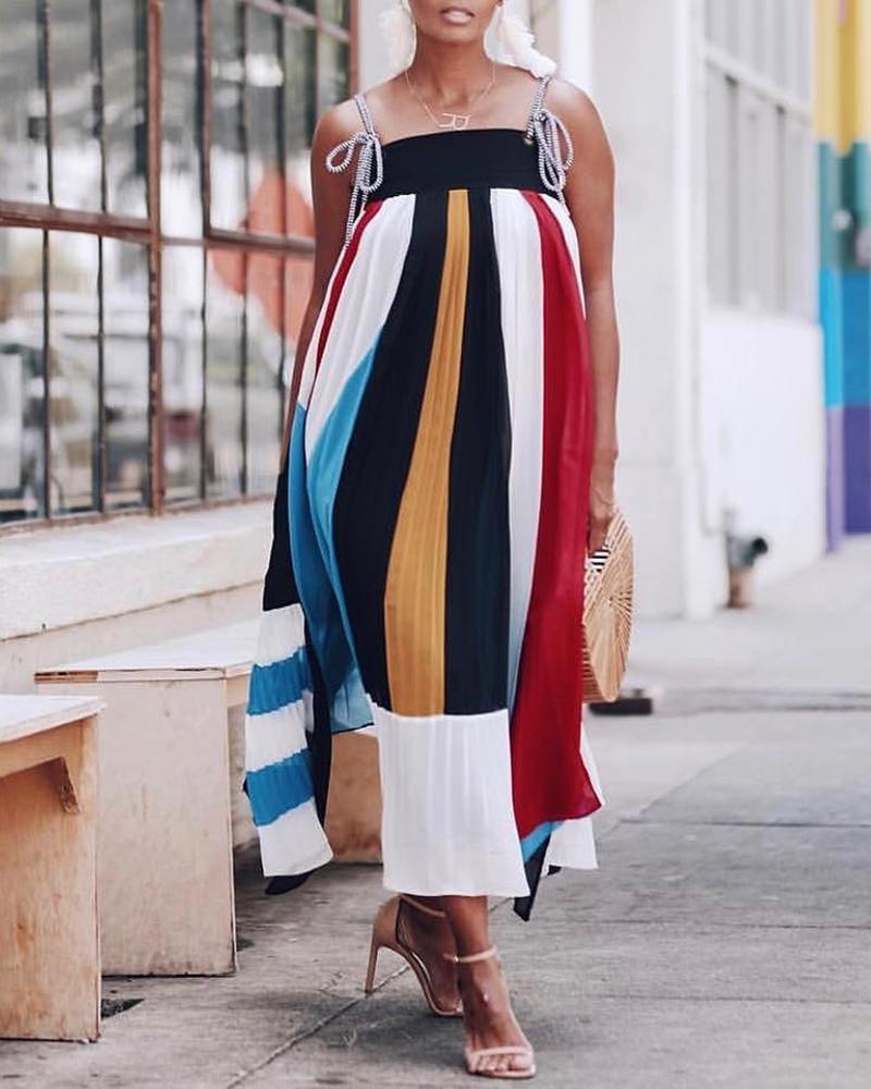 chicme / Rayas coloridas sueltas vestido largo deslizante