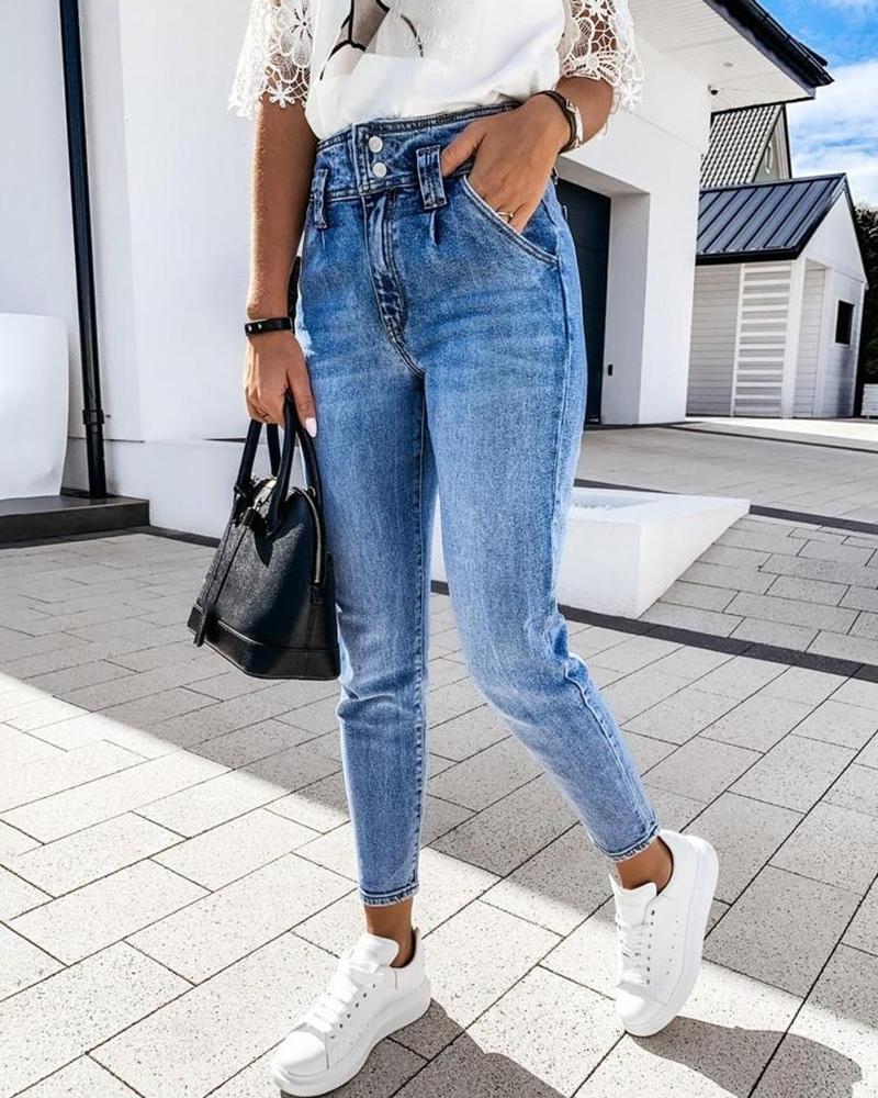 boutiquefeel / Bolsillos de botones de cintura alta Jeans casuales