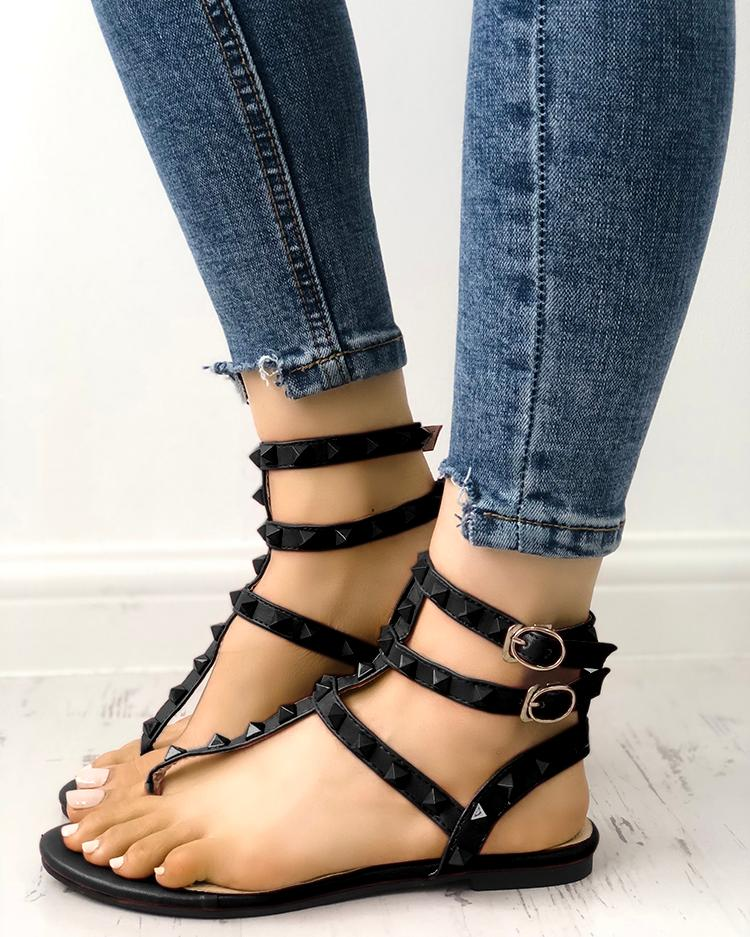 Rivet Multi Strap Toe Post Flat Sandals, ivrose, black  - buy with discount