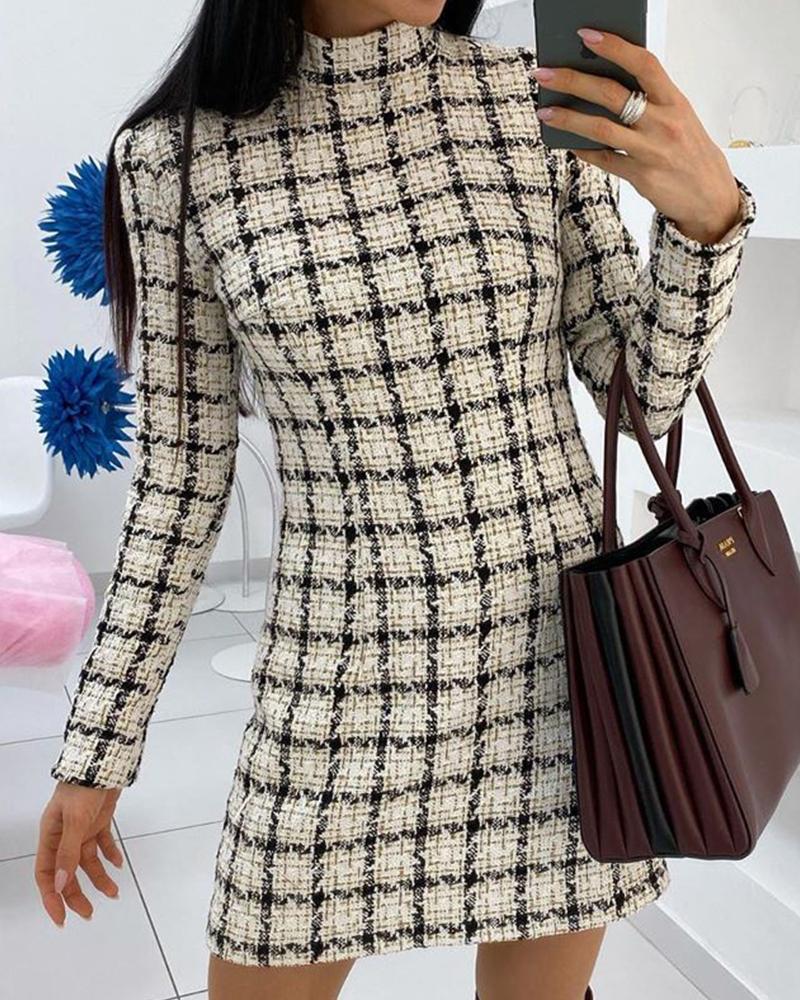 Mock Neck Grid Print Dress фото