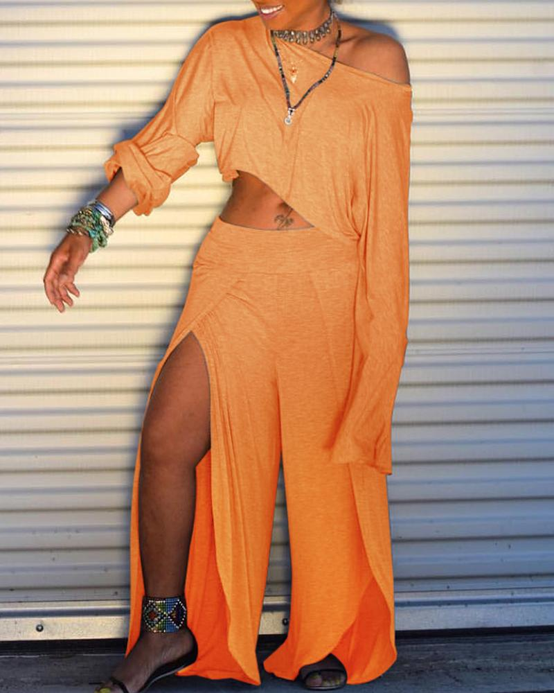 Solid Long Sleeve T-shirt & Slit Pant Sets фото