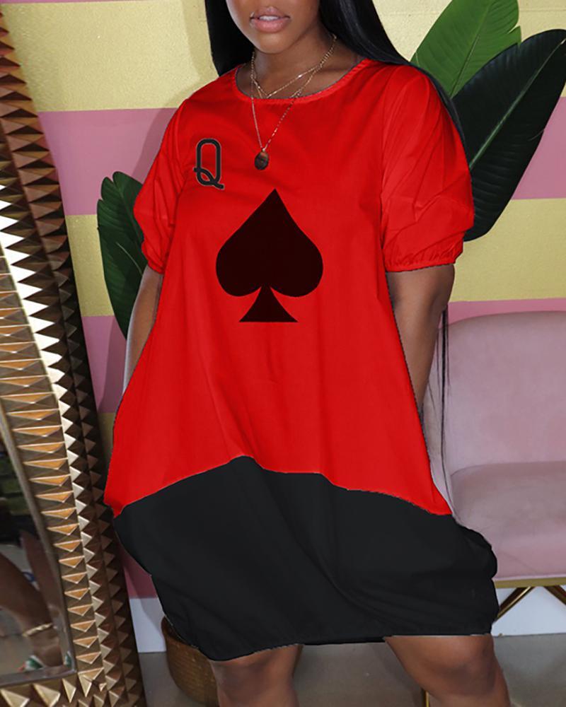 chicme / Poker Print Colorblock Midi Dress