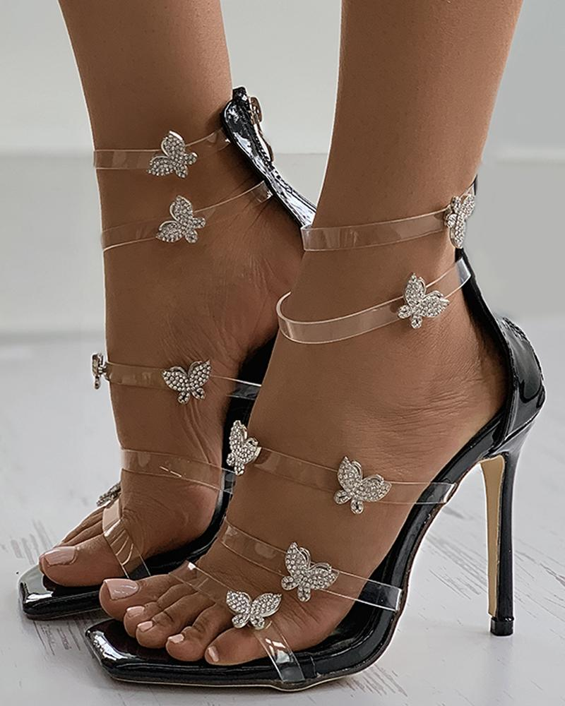 Clear Perspex Butterfly Pattern Stiletto Heel