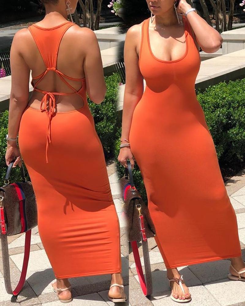 ivrose / Vestido informal sin espalda con correa gruesa sólida