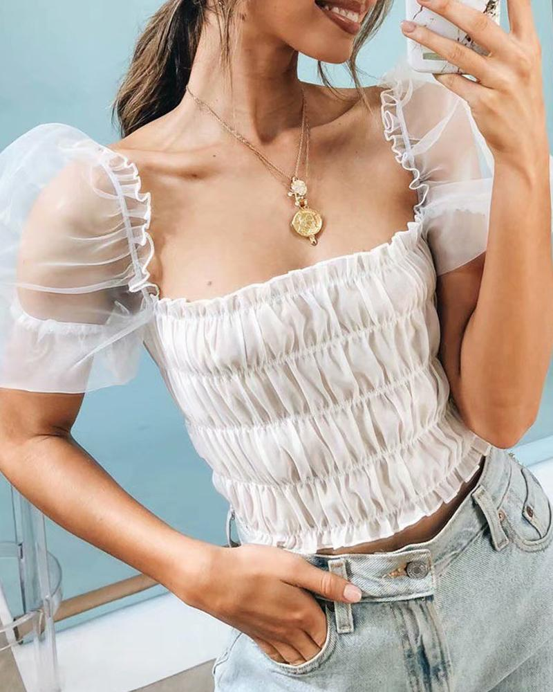 Square Neck Sheer Mesh Puffed Sleeve Blouse