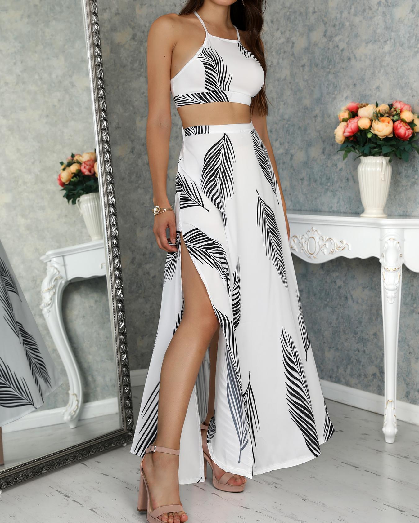 chicme / Estampa de Folha Topless Cami Top & Split Maxi Skirt Set