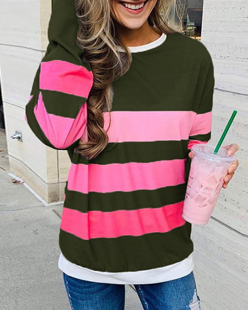 joyshoetique / Striped Colorblock Round Neck Long Sleeve Sweatshirt