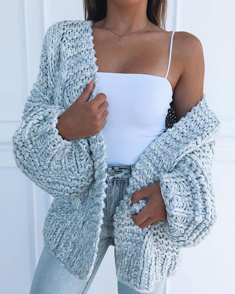 Solid Loose Knit Casual Cardigan фото